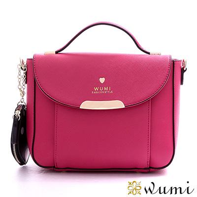 WuMi 無米 瑪莉珍十字紋兩用馬鞍包  鮮豔桃
