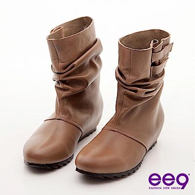 ee9簡約抓皺魔術貼內增高羊皮中筒靴-百搭可可