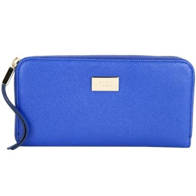 TOD'S Leather Zip 金屬牌飾內花布拉鍊長夾(藍色)