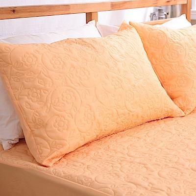 eyah宜雅 吸濕排汗大和防蹣抗菌雙效 信封式枕頭保潔墊2入(元氣橘)