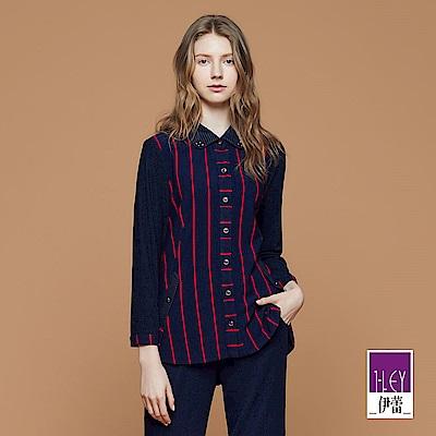 ILEY伊蕾 時尚條紋剪接配色上衣魅力價商品(藍)