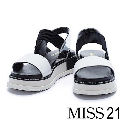涼鞋 MISS 21 時尚潮流異材質設計撞色拼接厚底涼鞋-白