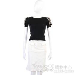 GAETANONAVARRA白色皮編釦飾魚尾裙