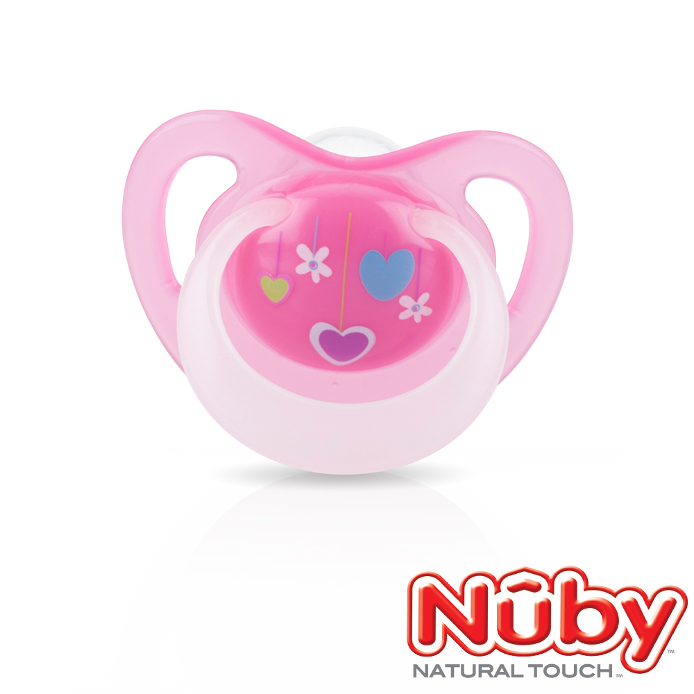 Nuby 夜光舒眠安撫奶嘴0-6m(附蓋)-粉
