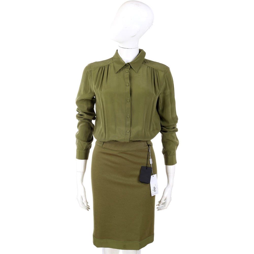 PHILOSOPHY-AF 綠色襯衫造型拼接款洋裝