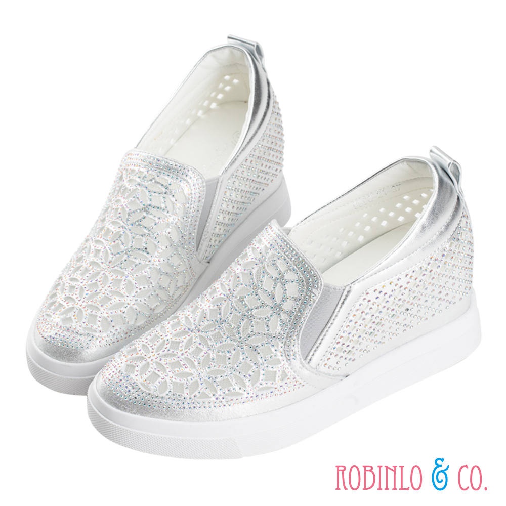 Robinlo & Co.閃耀透視縷空內增高休閒鞋 銀色
