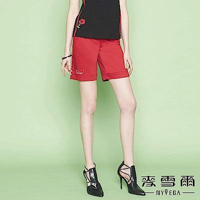麥雪爾 純棉鑽飾鐵塔織帶短褲-紅