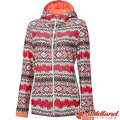 Wildland 荒野 0A61657-09桃紅 女彈性針織功能印花外套