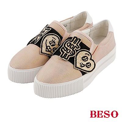 BESO  都會街頭 魔術帶飾釦條紋真皮休閒鞋~粉紅