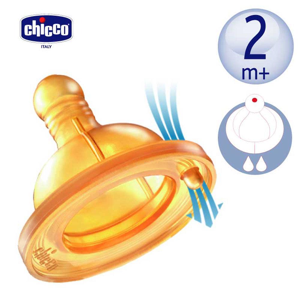 [滿額送腳皮機]chicco-舒適哺乳-乳膠奶嘴單孔-中等流量(2m+適用) (2入)