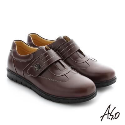 A.S.O 輕量抗震 油感牛皮魔鬼氈奈米紳士休閒鞋 咖啡色