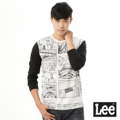 Lee 長袖T恤 漫畫圖案印刷拼接-男款-白