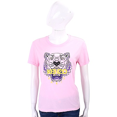 KENZO Tiger 虎頭印花粉色棉質T恤