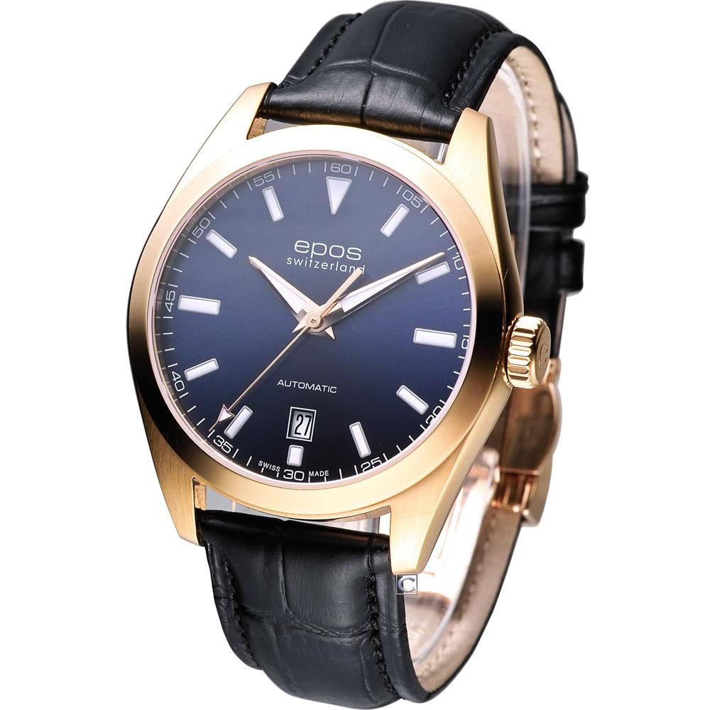 EPOS 都會典藏 時尚機械腕錶-藍面/39mm