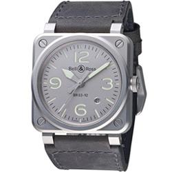 Bell & Ross 經典時尚飛行械機腕錶-灰/42mm