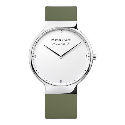 BERING- MAX RENE設計師聯名款 白x橄欖綠 矽膠錶帶40mm