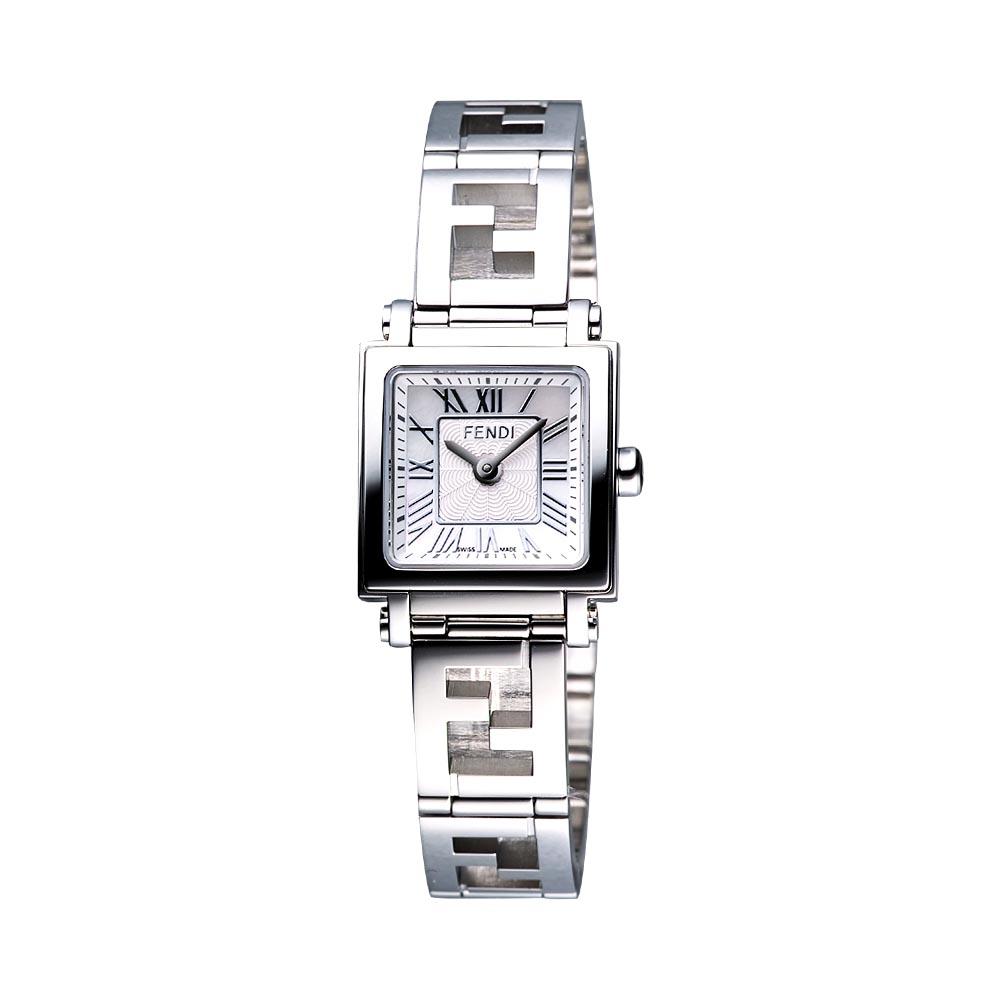 FENDI 羅馬古典雙F鍊帶鏤空女錶-白/20mm
