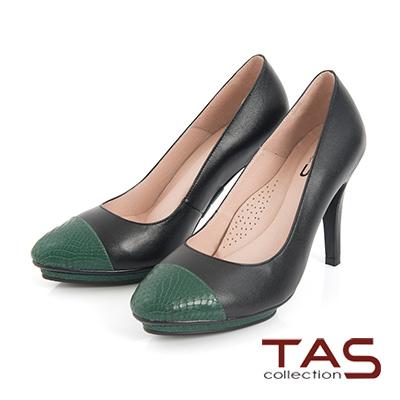 TAS 牛皮拼接防水台高跟鞋-沉靜綠