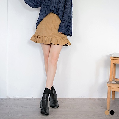 素色麂皮傘擺魚尾裙.2色-OB嚴選
