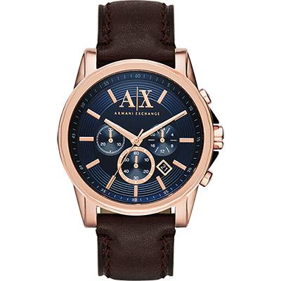 A│X Armani Exchange 探險家三眼計時腕錶-藍x玫瑰金框/44mm