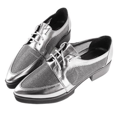 Robinlo Studio 金屬感造型拼接網布真皮牛津鞋 錫灰