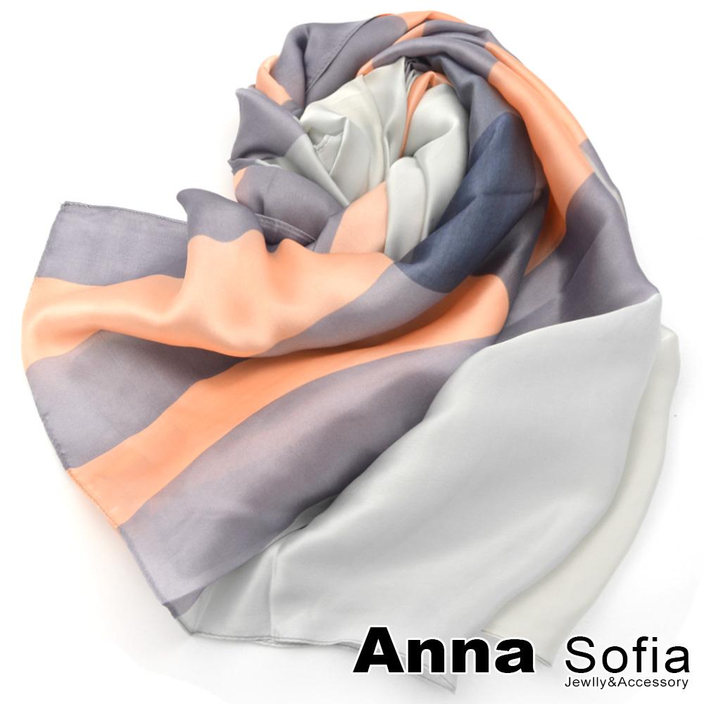 AnnaSofia 光澤柔滑格紋 亮緞面仿絲披肩絲巾圍巾(粉灰系)