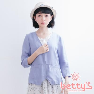 betty's貝蒂思 V領拉鍊西裝版型外套(淺藍)