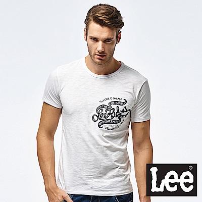 Lee 口袋刺繡短袖圓領TEE-男款-白