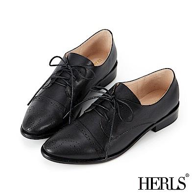 HERLS 復古文藝 全真皮兩穿德比牛津鞋-黑色