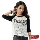 5th STREET T恤 拉克蘭袖蕾絲T恤-女-黑色