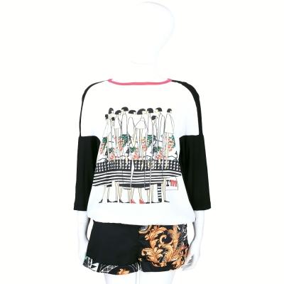 I'm Isola Marras 黑白色時尚女孩圖印拼接設計短袖上衣