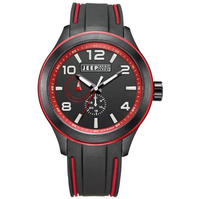 Jeep Spirit 色彩派對休閒運動腕錶-紅/47mm