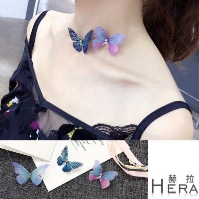 Hera 赫拉 立體水鑽蝴蝶隱形短項鍊/鎖骨鍊/2款