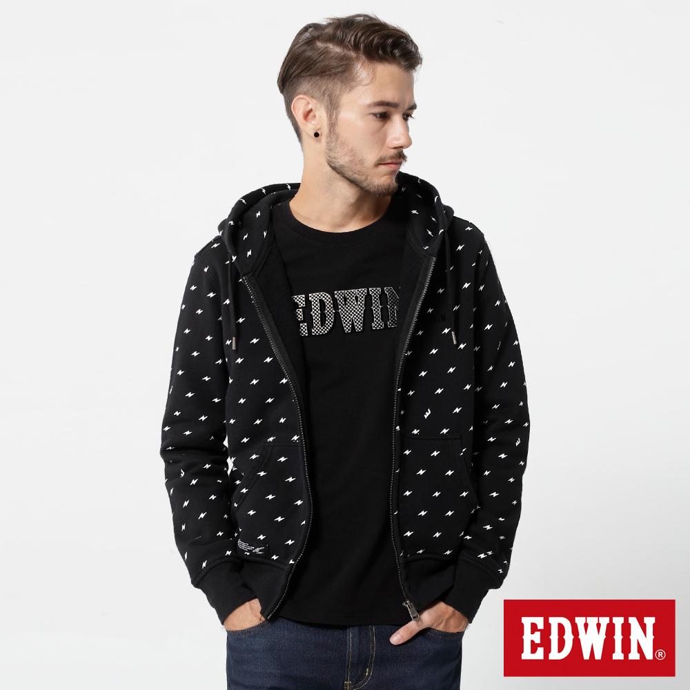 EDWIN 閃電印花拉T外套-男-黑色