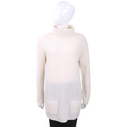 ALLUDE 米白立領長袖羊毛針織上衣(70%WOOL)