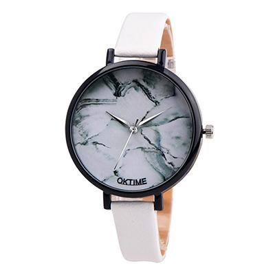 Watch-123 江南人家-無秒針大理石面山水風手錶-白色/37mm