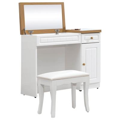 品家居 莫格3尺鄉村雙色化妝鏡台含椅-91x40x78cm-免組