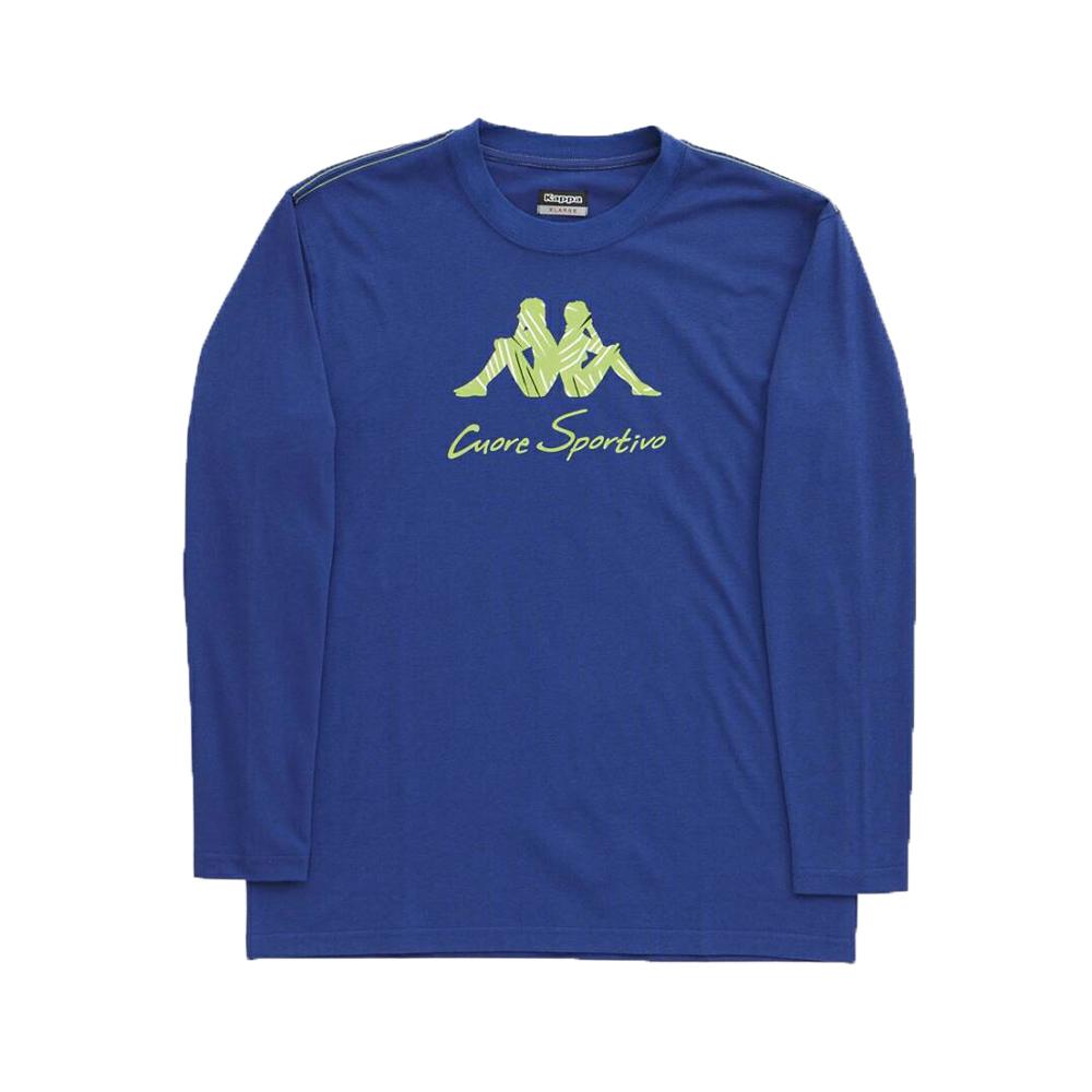 KAPPA義大利型男吸濕排汗速乾彩色圓領長袖衫 科技藍