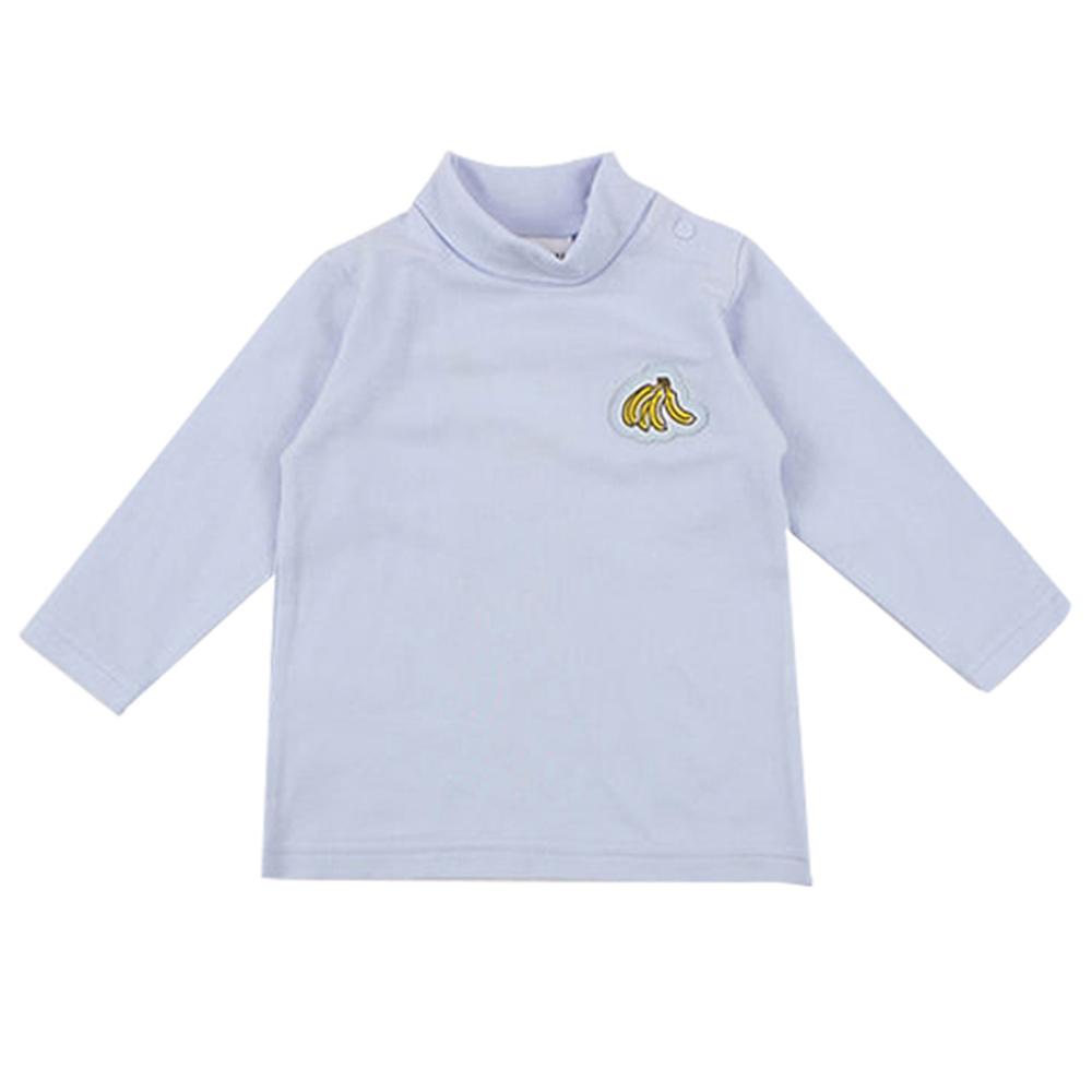 愛的世界 彈性立領肩扣長袖上衣-藍/6個月~4歲