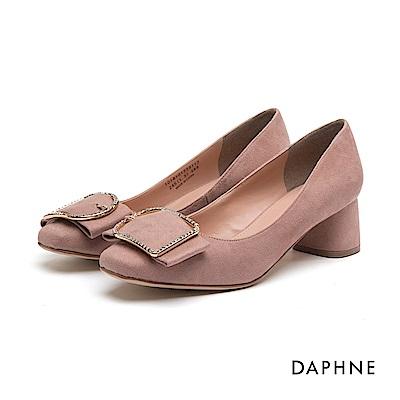 達芙妮DAPHNE 高跟鞋-水鑽方釦寬帶絨面高跟鞋-粉紅