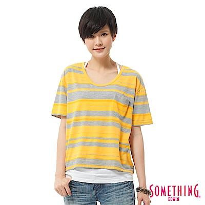 SOMETHING T恤  條紋口袋造型短版T-女-黃色