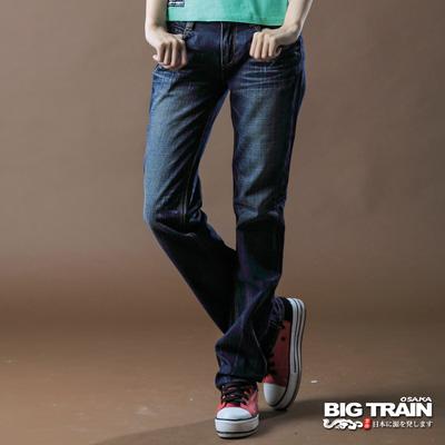 【BIG TRAIN】女款 貼布刺繡女垮褲(深藍)