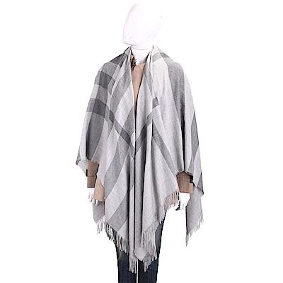 BURBERRY 100%喀什米爾淺灰經典格紋輕盈羊毛披肩