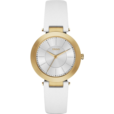 DKNY Stanhope 名模風采時尚腕錶-銀白x金框/36mm