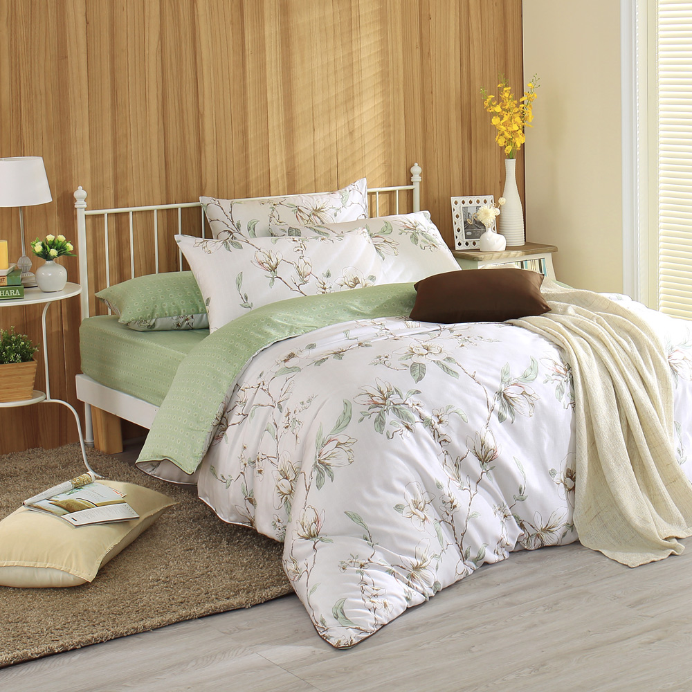 MONTAGUT-春日的序章-200織紗天絲兩用被床包組(雙人)+贈1被1毯