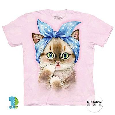 摩達客 美國進口The Mountain 圓點髮帶貓 純棉環保中性短袖T恤