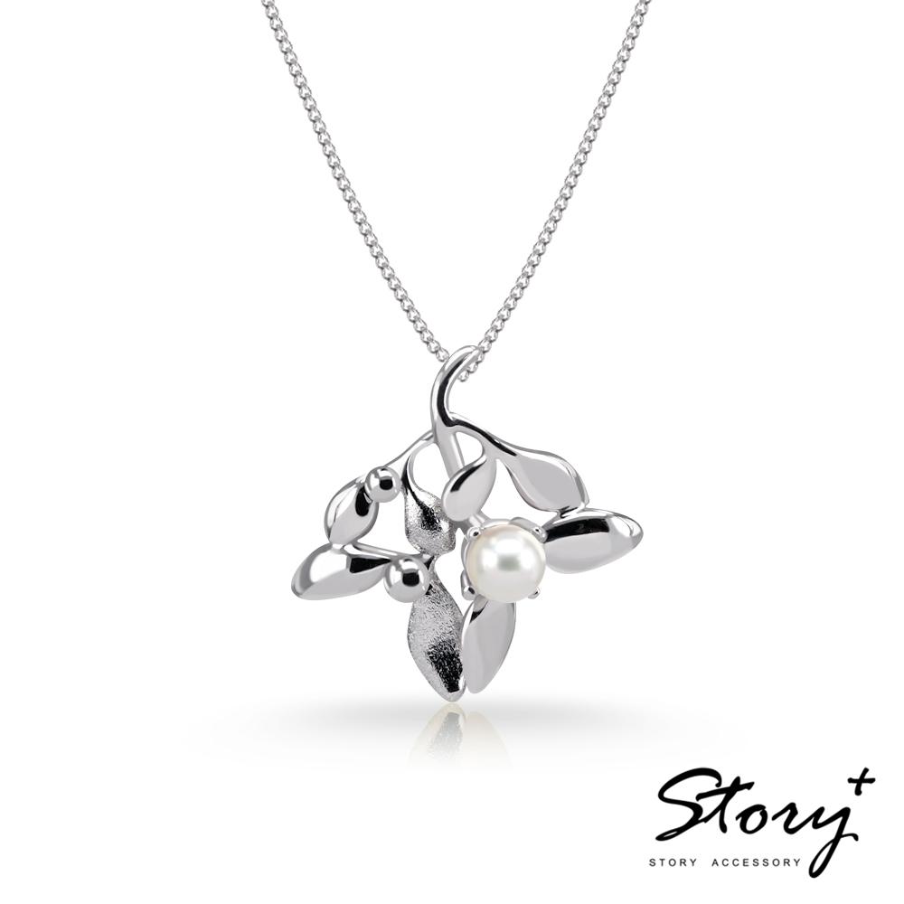 STORY故事銀飾-SNOW系列-Mistletoe槲寄生天然珍珠項鍊(大)白K金