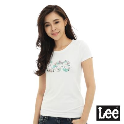Lee 短袖T恤 粉紅色花朵點綴LEE文字印刷 -女款(米白)