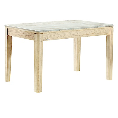 品家居 阿爾娃4.3尺原木紋實木石面餐桌-130x75x76cm免組