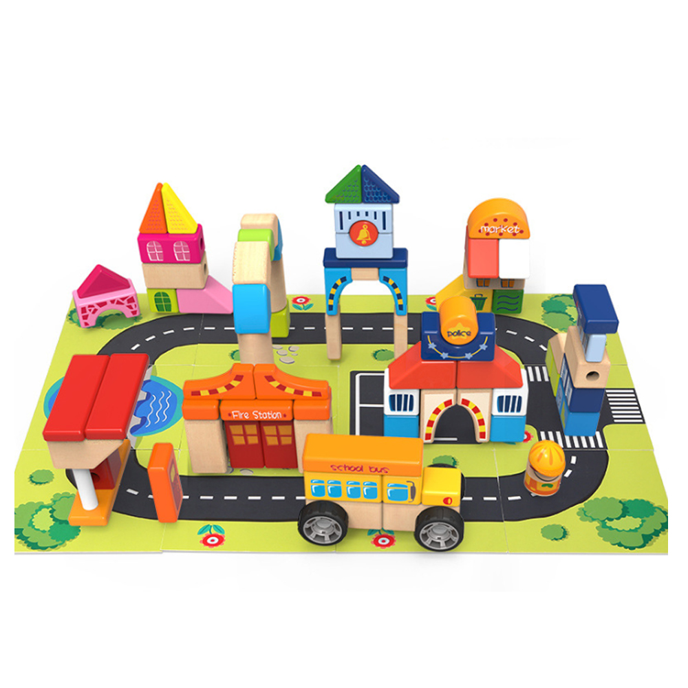 木製玩具TAUNO系列拚接城市積木 (12m+)